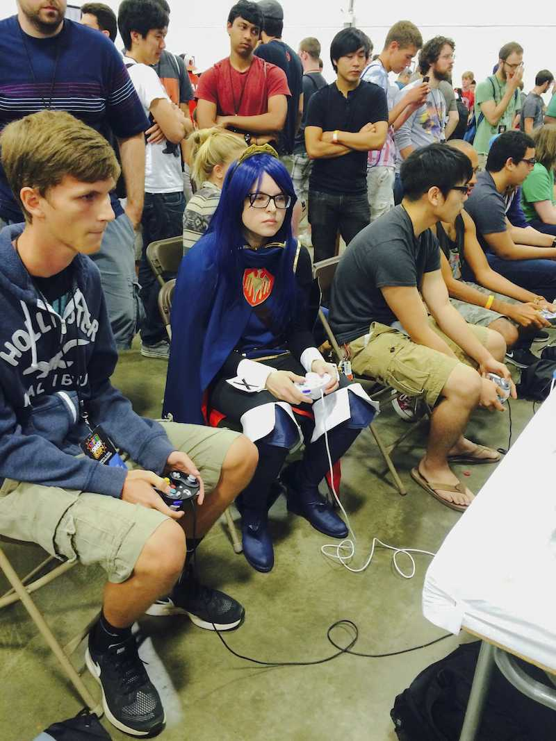 Bendekovich cosplaying as Fire Emblem's protagonist Lucina at a tournament. Twitch players are becoming more prominent.