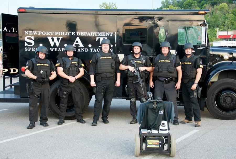 The Newport Swat unit enjoyed learning about the robot. The robot was created by BIS 394 students.