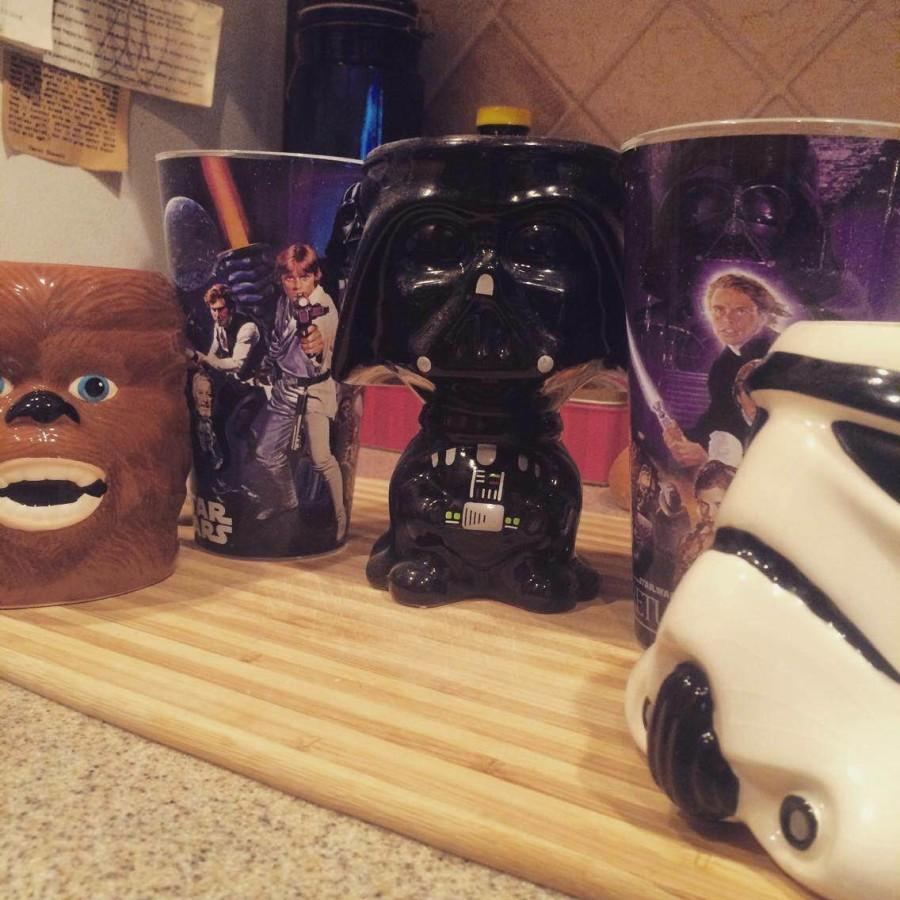 Nick Canchola has a display of Star Wars memorabilia. Most of these were gifts.