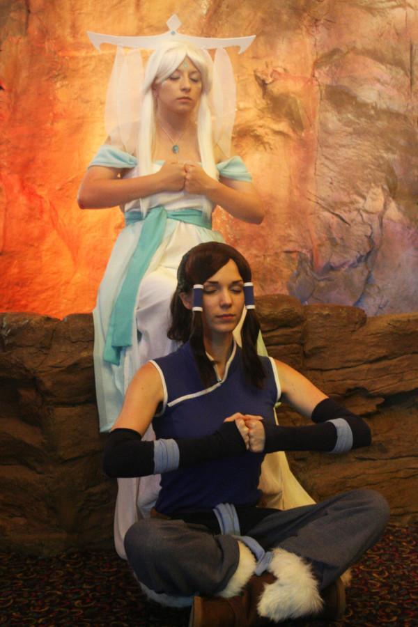 Kerner stands as Raava and Koehler is Korra from 'Legend of Korra'. These are the kind of costumes seen at conventions.