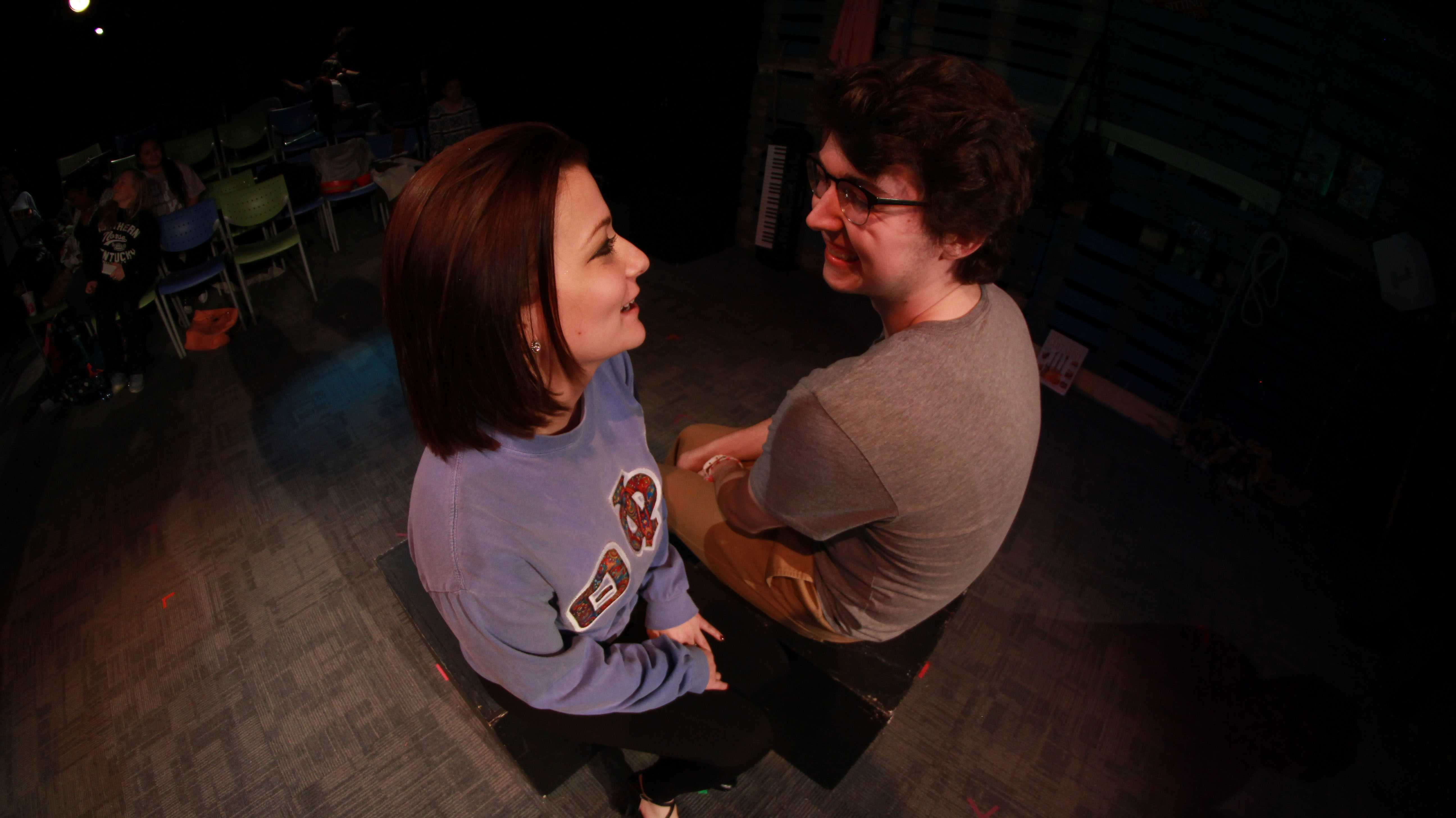 Aaron Marshall playing the character Xander, Gabby Francis (Becca) preparing for a passionate kiss in the upcoming play, Years.