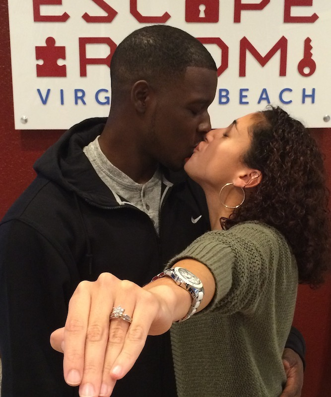Tywan Shanklin proposed to Gabriela Santiago at Virginia Beach's Escape Room. She said yes!
