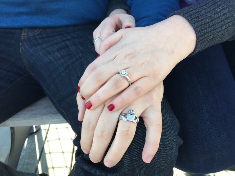 Danny Hagedorn's claddagh ring represents love, loyalty and friendship. Nicole Hudson wears her engagement ring.