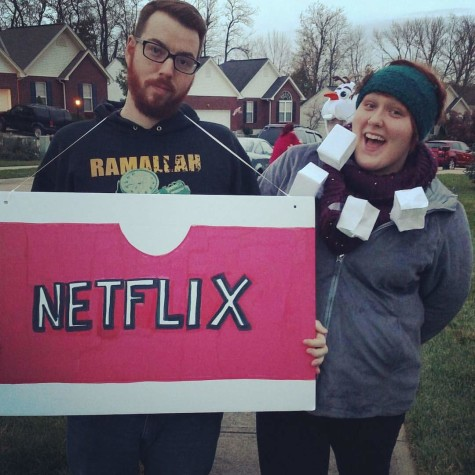 Ally and Brandon Hubbard dressed up as 'netflix and chill' for Halloween. They met early last year.