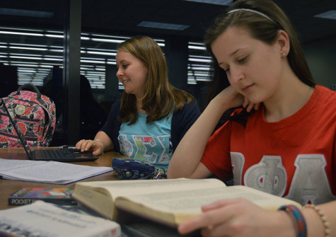 Sorority members participate in study tables in the Steely Library. On average, students who go Greek have a higher GPA.