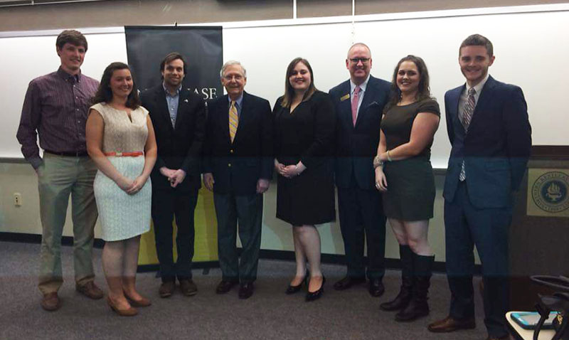The+NKU+Chase+Federalist+Society+with+Sen.+Mitch+McConnell+after+his+talk+on+campus+on+March+24.+