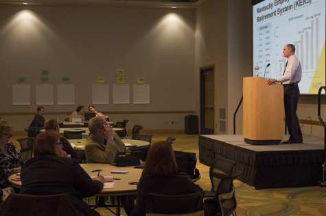 Mike Hales, chief financial officer, presents a variety of budget scenarios to faculty and staff on March 3. The final budget changes won't be approved until mid-April.