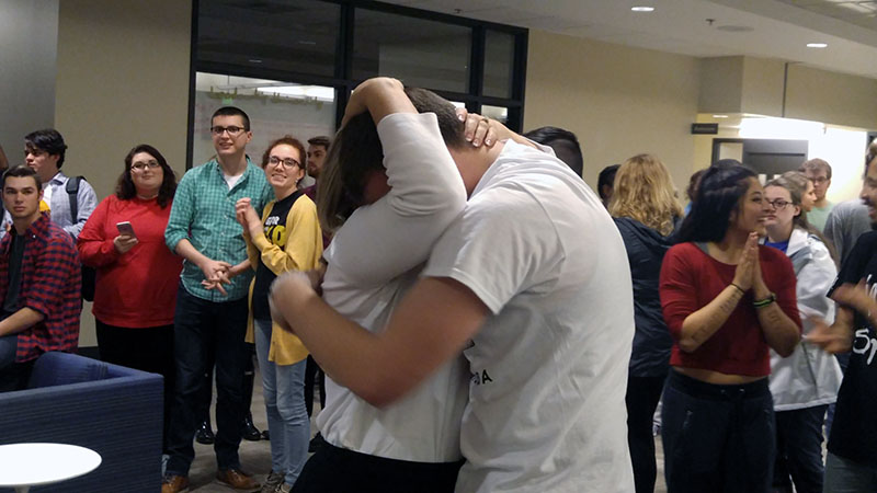 Newly-elected+President+Will+Weber+embraces+his+mother%2C+Janice+Weber%2C+after+he+is+declared+student+body+president.+