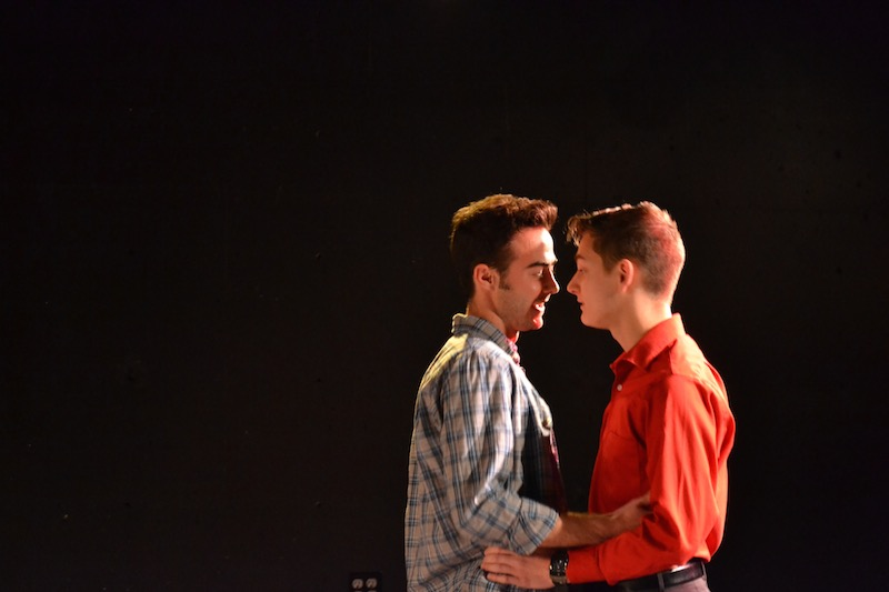 Colin Kissel (John) and George Ivan (Man), just before a kiss during a rehearsal for