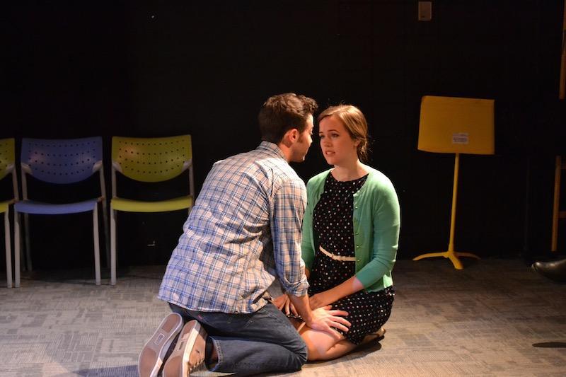 Colin Kissel (John) rehearses a scene with Hallie Hargus, John's female love interest.