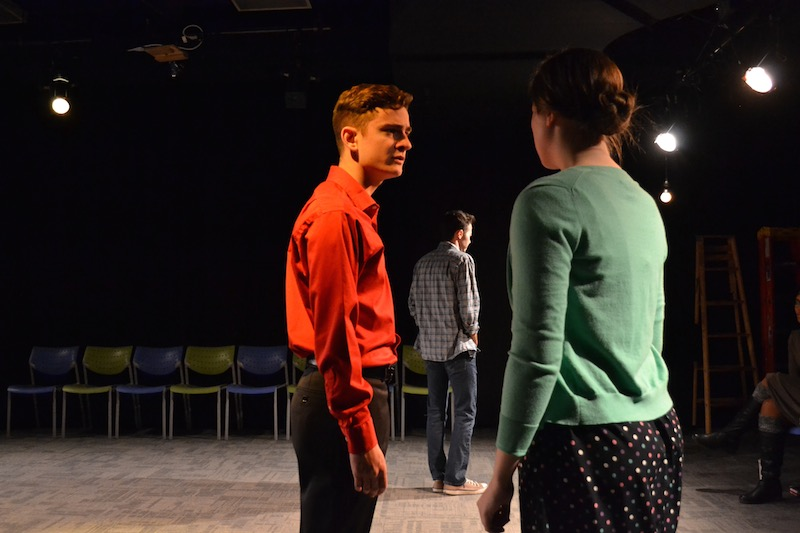 George Ivan (Man) glares at Hallie Hargus (Woman) during a rehearsal for