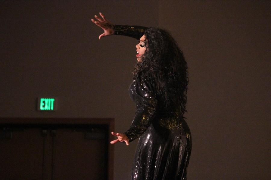 Host and MC, Crystyle Starr busts on to stage to perform her opening act to begin the rest of the NKU Common Ground's 2016 Spring Benefit Drag Show: Queer Factor.