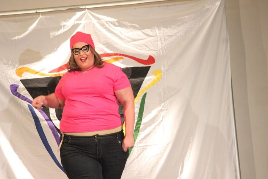 Genevieve Van Hore gets the crowd hyped dressed as Family Guy character Meg Griffin.