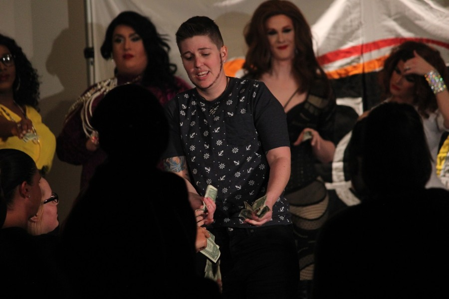 11 time performer for NKU Common Ground Drag Show, Justin Deaver, performs one last time before retiring from drag while collecting donations from the audience.