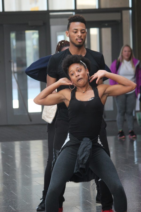 Rhonisha Gentry, dance member and freshman at NKU, breaks down her moves for the Student Union audience.