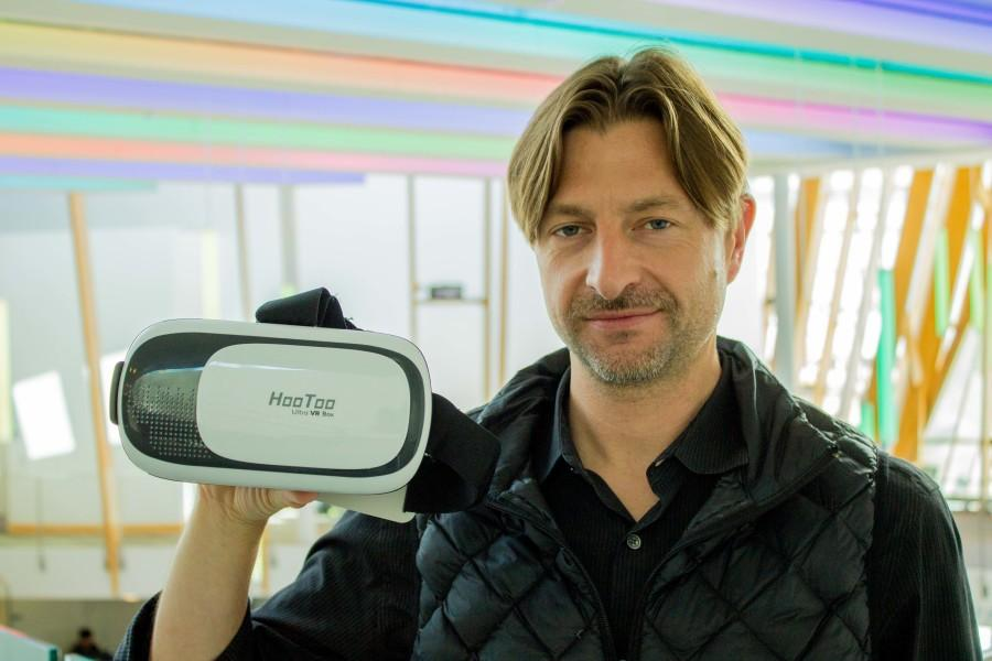 Nicholas Zeman is using the HooToo to imitate virtual reality for his mobile game. The game is based off a movie EMB professor, John Gibson made.