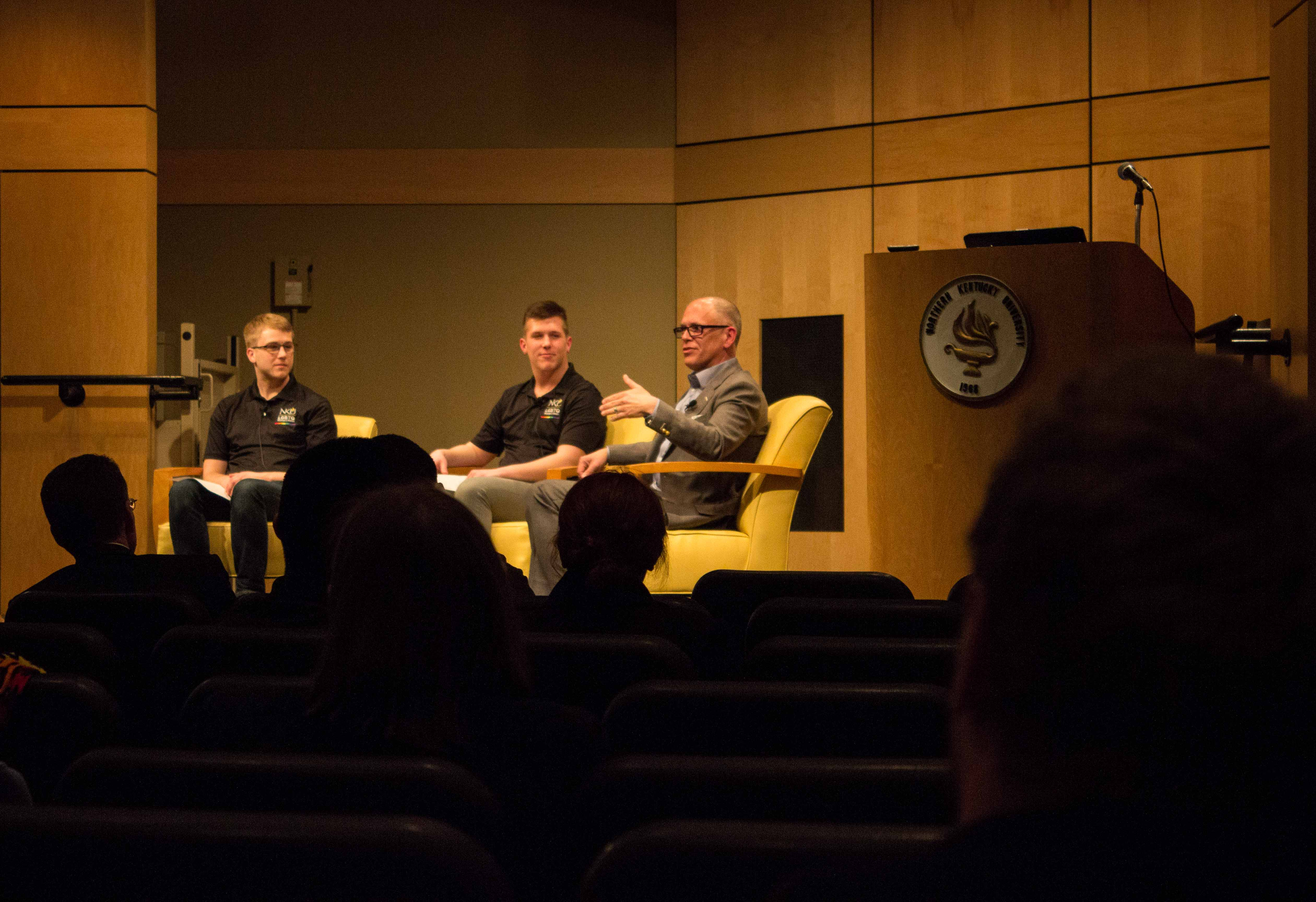 Jim Obergefell speaks during NKU Pride Week. Obergefell notes that the fight is not over.