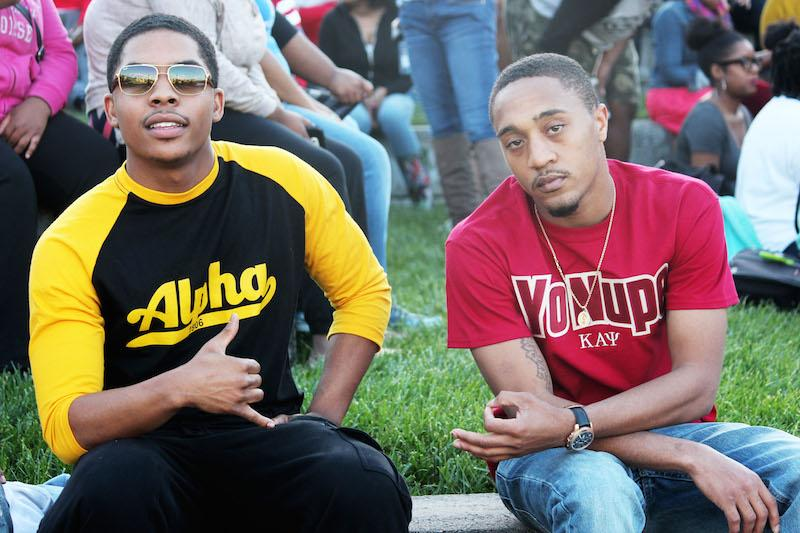 Alpha Psi Alpha and Kappa Alpha Psi Fraternity members represent their organizations before the show beings.