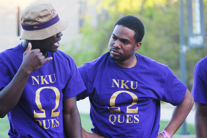 NKU Omega Psi Phi performs a telephone skit for the audience including jokes about other fraternities and popular topics