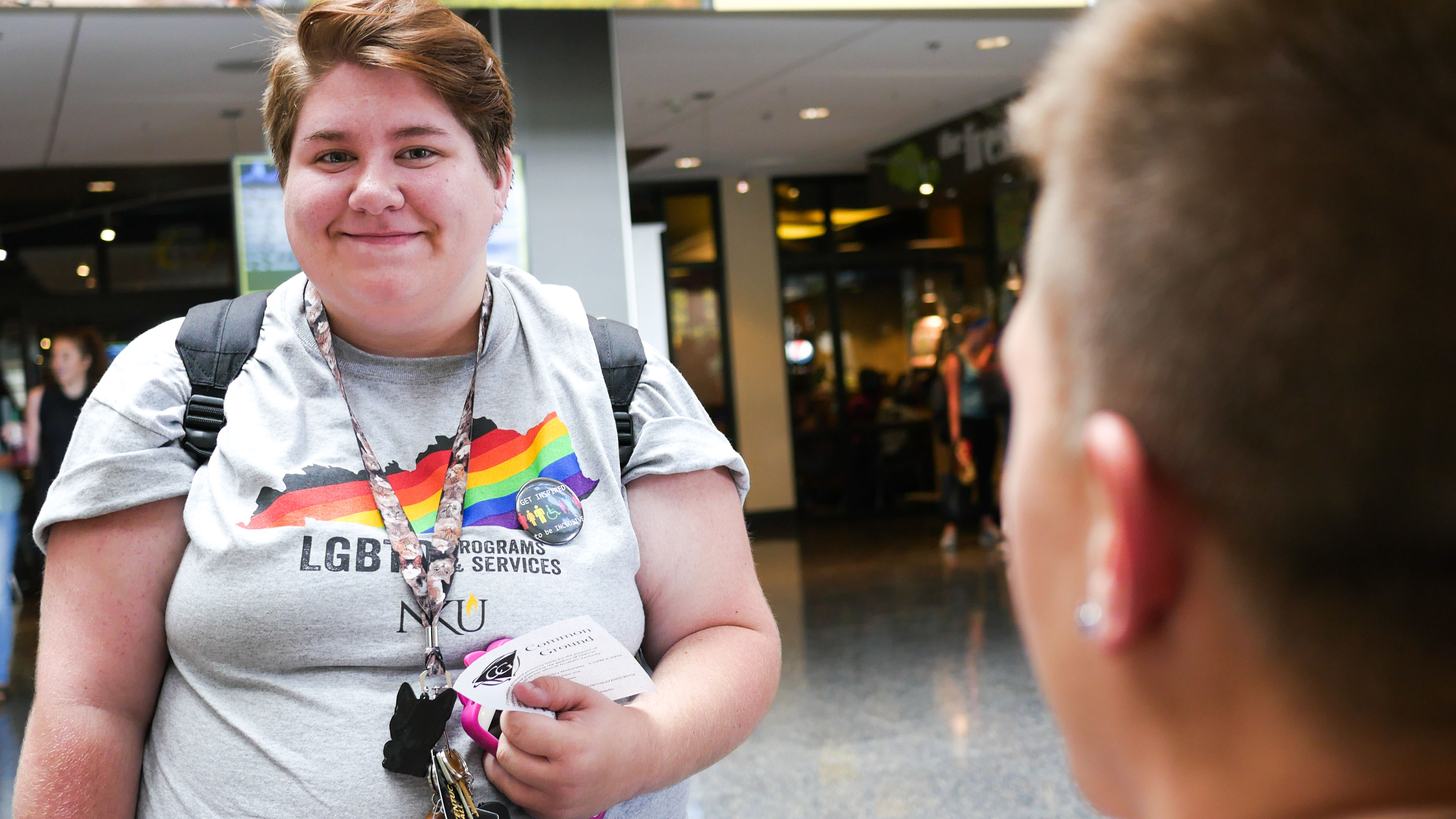 LGBTQ services provide support to everyone in the community. This student is feeling the love.