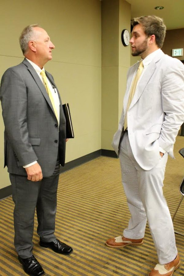 Dr. Daniel Nadler chats with SGA President Will Weber after the Aug. 22 meeting. Nadler was hired by Northern Kentucky University as the new vice president for student affairs in May.