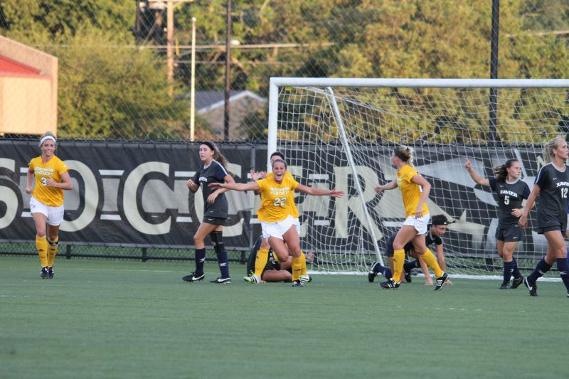 Rachel+Conaway+celebrates+just+after+her+header+gets+past+the+Xavier+goalie.+The+goal+put+the+Norse+in+the+lead+1-0
