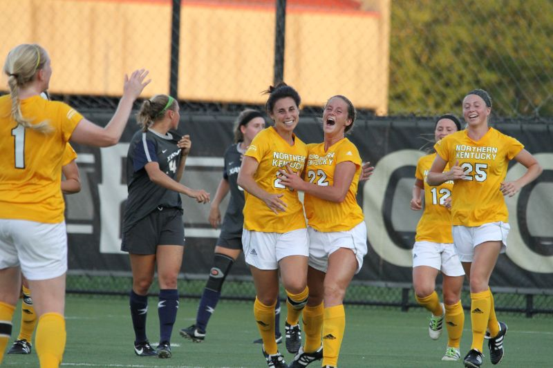 Rachel+Conaway+celebrates+her+first+goal+of+her+career+against+Xavier+with+teammate+Katelyn+Newton