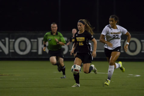 Jessica Frey races to catch up with a pass from a teammate. She was injured in the 1-0 loss to Milwaukee
