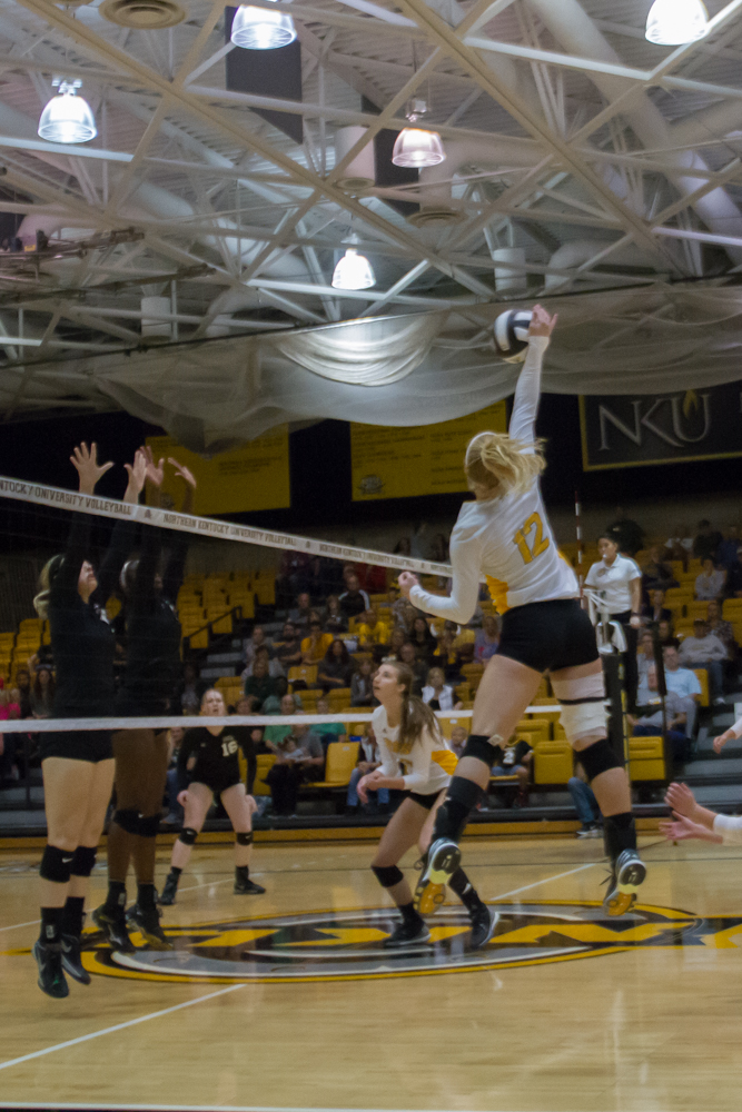 Laura Crawford spikes a ball against Cleveland State. The Norse would lose to CSU 3-2.
