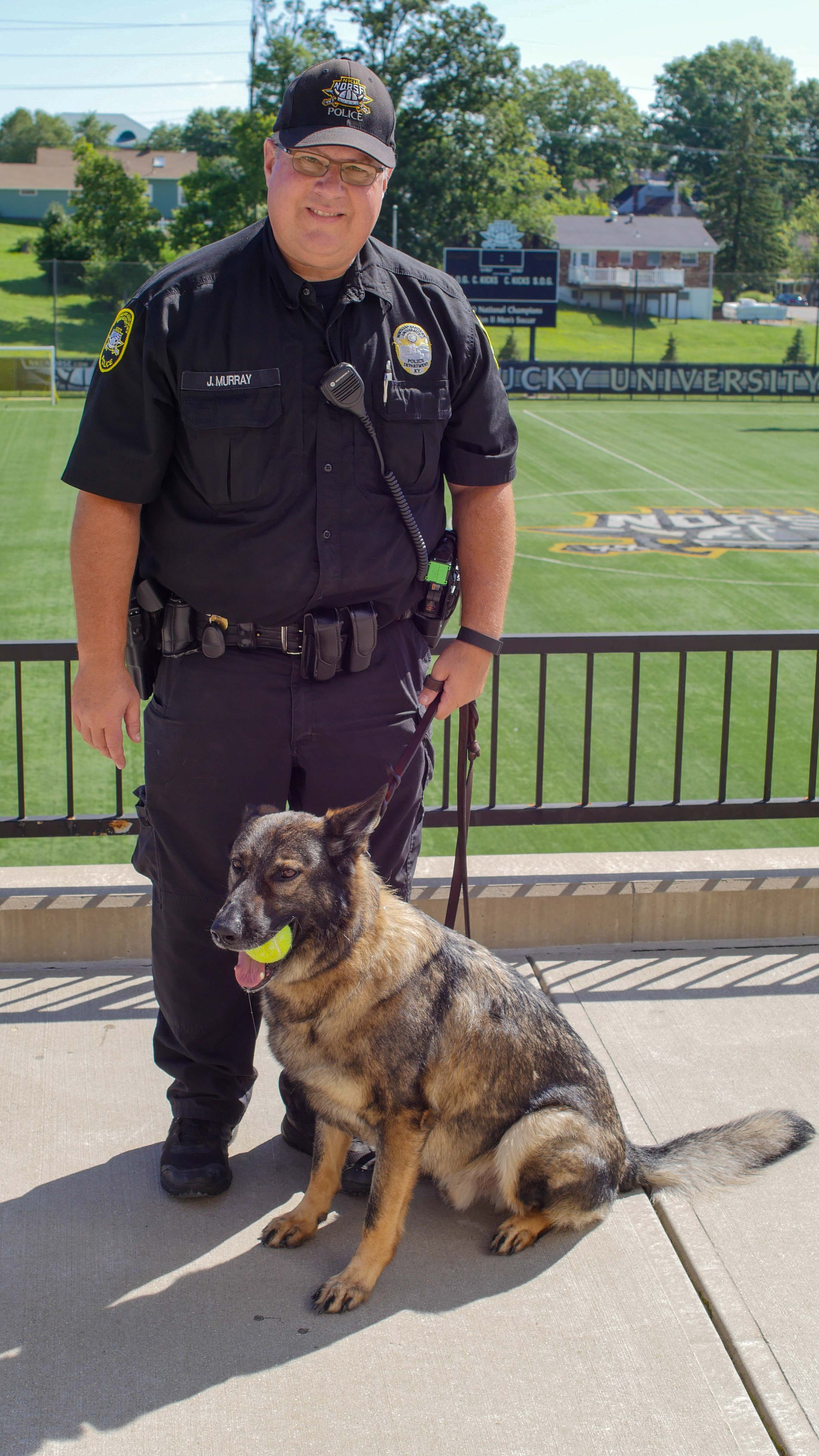 The+German+Shepard+has+been+serving+campus+for+three+and+half+years.+Arritt+has+seen+NKU+through+three+different+police+chiefs.+