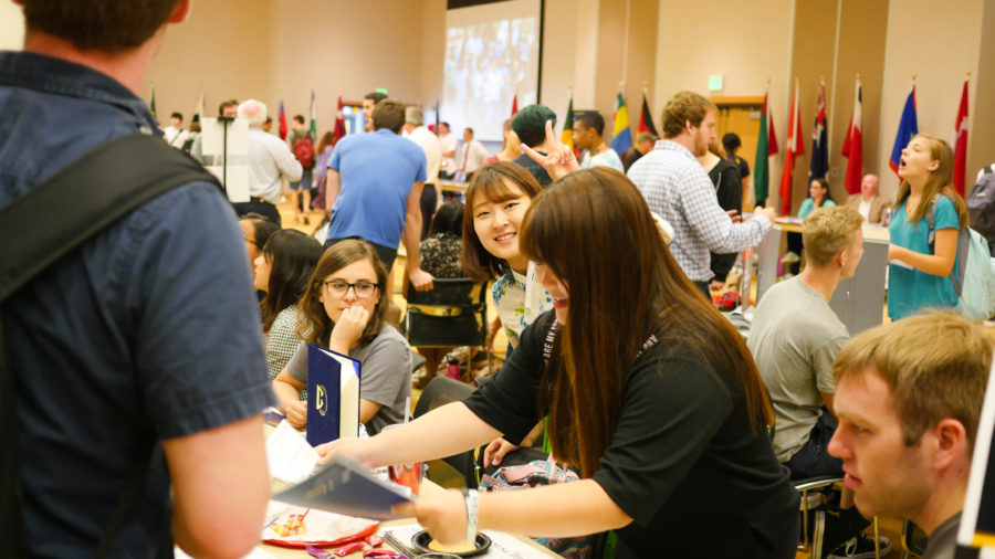 The fair included majors and programs from across campus. Study abroad allows students to receive college credit for classes taken out of the country.