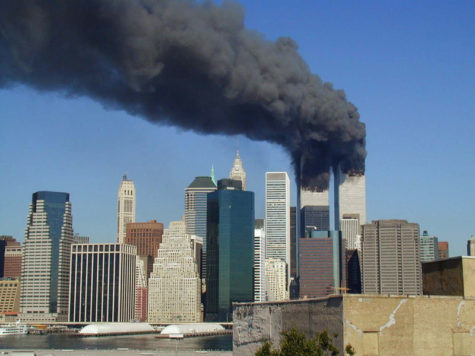 Plumes of smoke billow from the World Trade Center towers in Lower Manhattan, New York City on Sept. 11, 2001.
