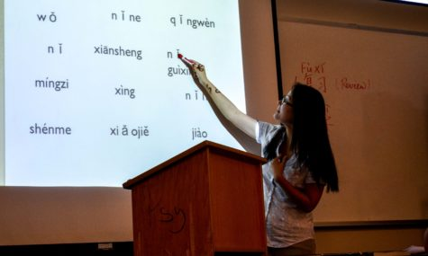 Professor Sun points to Chinese characters during lecture.