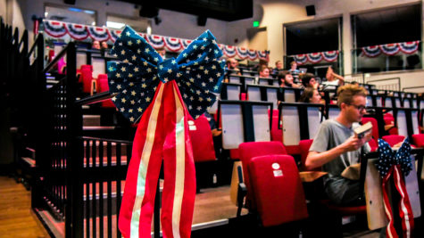 "Blue, red and white ribbons lined the Digitorium, where a ""Debate-In"" was held during the presidential debate."