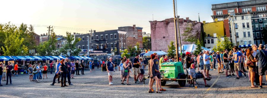 The bands performed alongside an urban landscape. Midpoint Music Festival took place in the Over the Rhine District of Cincinnati.
