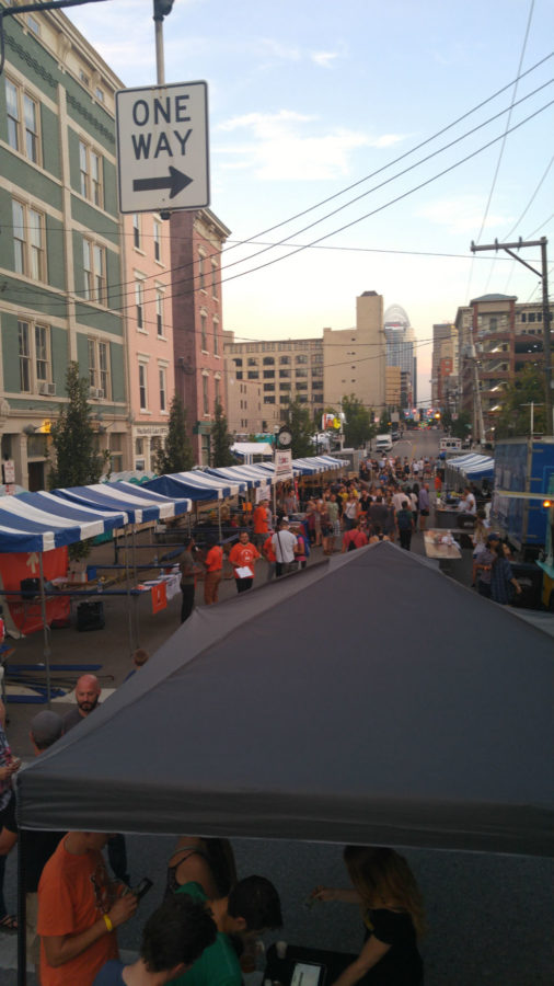 Sycamore street is converted into a market two blocks long with food trucks, beer booths and merchandise from all sorts of local vendors.