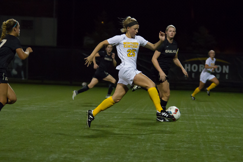 Payton Naylor races down the field during a 2-1 win against Oakland