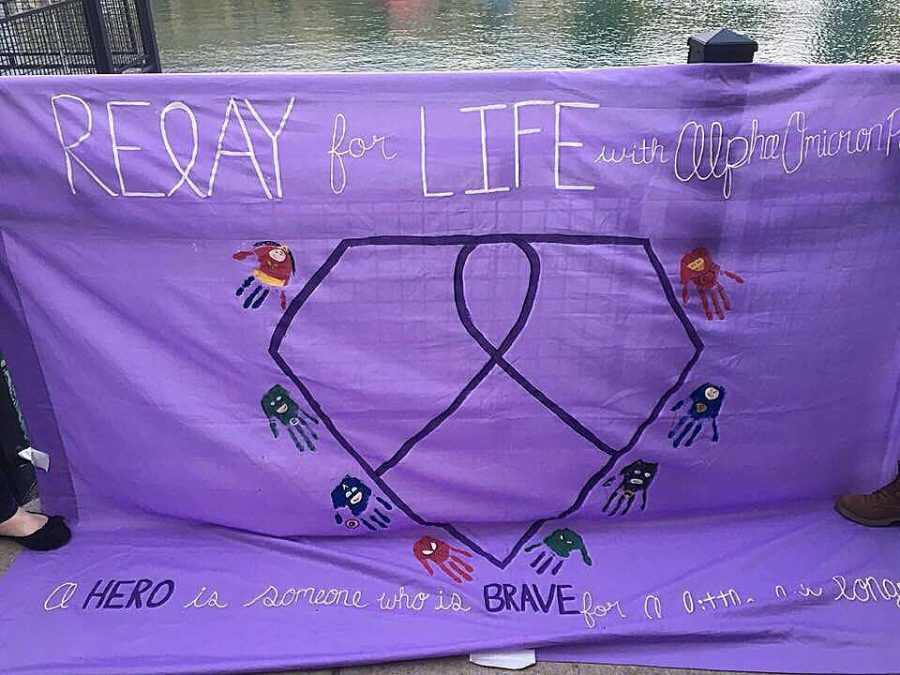 Otten's sorority, Alpha Omicron Pi, made this banner for 2016 Relay for Life.