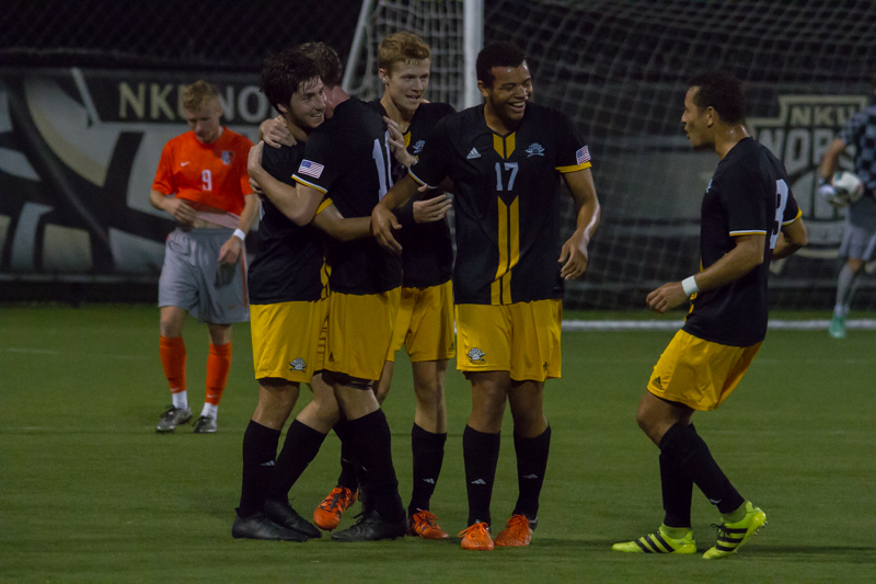 NKU+celebrates+a+Campbell+Morris+goal+in+the+first+half+of+the+match+against+Bowling+Green.