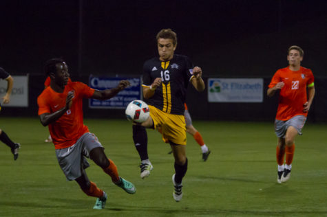 Liam Evans tries to get past a BSGU defender during NKU's 2-1 loss.