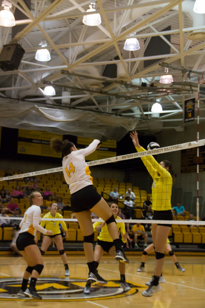Keely Creamer records one of her 19 kills against Valpo on Friday. Creamer broke the record for kills in a three set match.