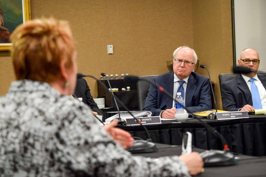 NKU Regent Dennis Repenning listens to a presentation by Provost and Executive Vice President for Academic Affairs Sue Ott Rowlands (left) during Wednesday's Board of Regents meeting.