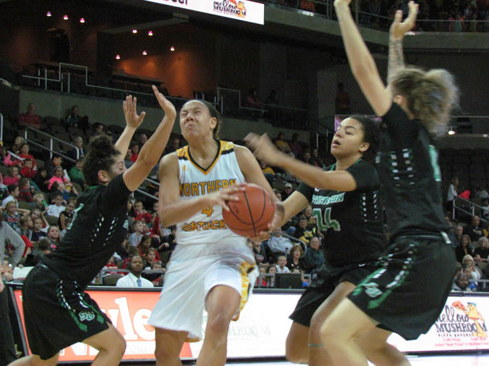 Mikayla Terry dribbles through traffic against Stetson. The Norse lost 54-45.