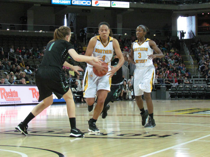 Mikayla Terry drives to the basket against Stetson. Terry had nine points in the loss