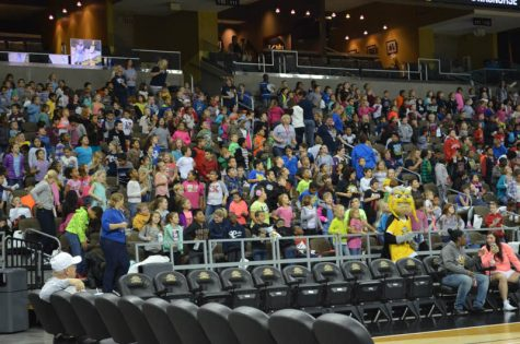 Victor E. Viking made his first appearance in front of 4,000 elementary school children last Wednesday during Victor's Hoops for Health day.