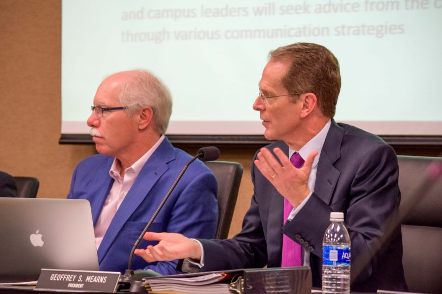 NKU+President+Geoffrey+Mearns+%28right%29++and+Rich+Boehne+during+a+recent+Board+of+Regents+meeting.
