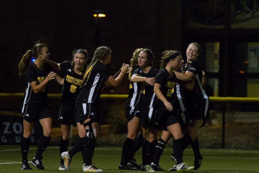 The+Norse+celebrate+after+Macy+Hamblin+puts+the+Norse+on+the+board.+NKU+would+come+back+from+a+2-0+deficit+to+defeat+Milwaukee+3-2+in+the+Horizon+League+Championship.