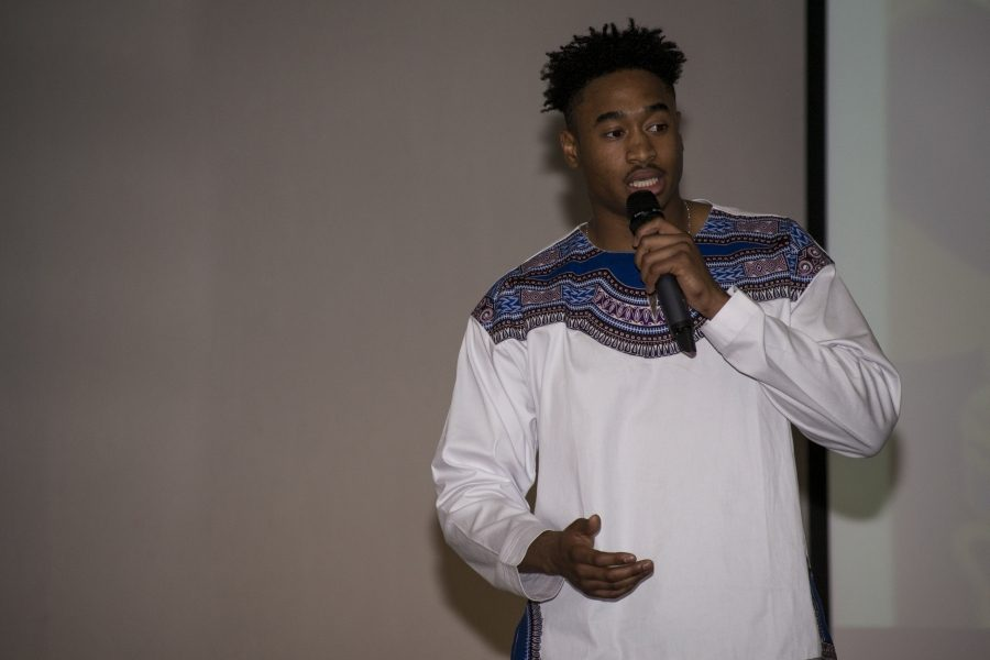 Jayren Andrews, a freshman at NKU, performed spoken word layered in social commentary and contemplation at the event. He goes by Juice, which stands for Jayren Utilized Intelligence created enlightenment.
