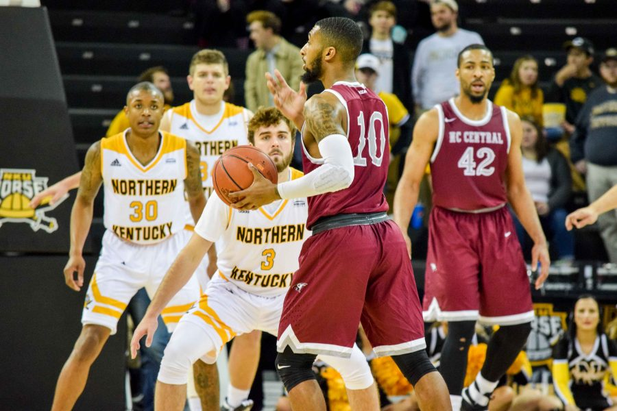 NKU's defense prepares as NCCU's Dajuan Graf (10) sets the offense during Saturday's game against North Carolina Central.