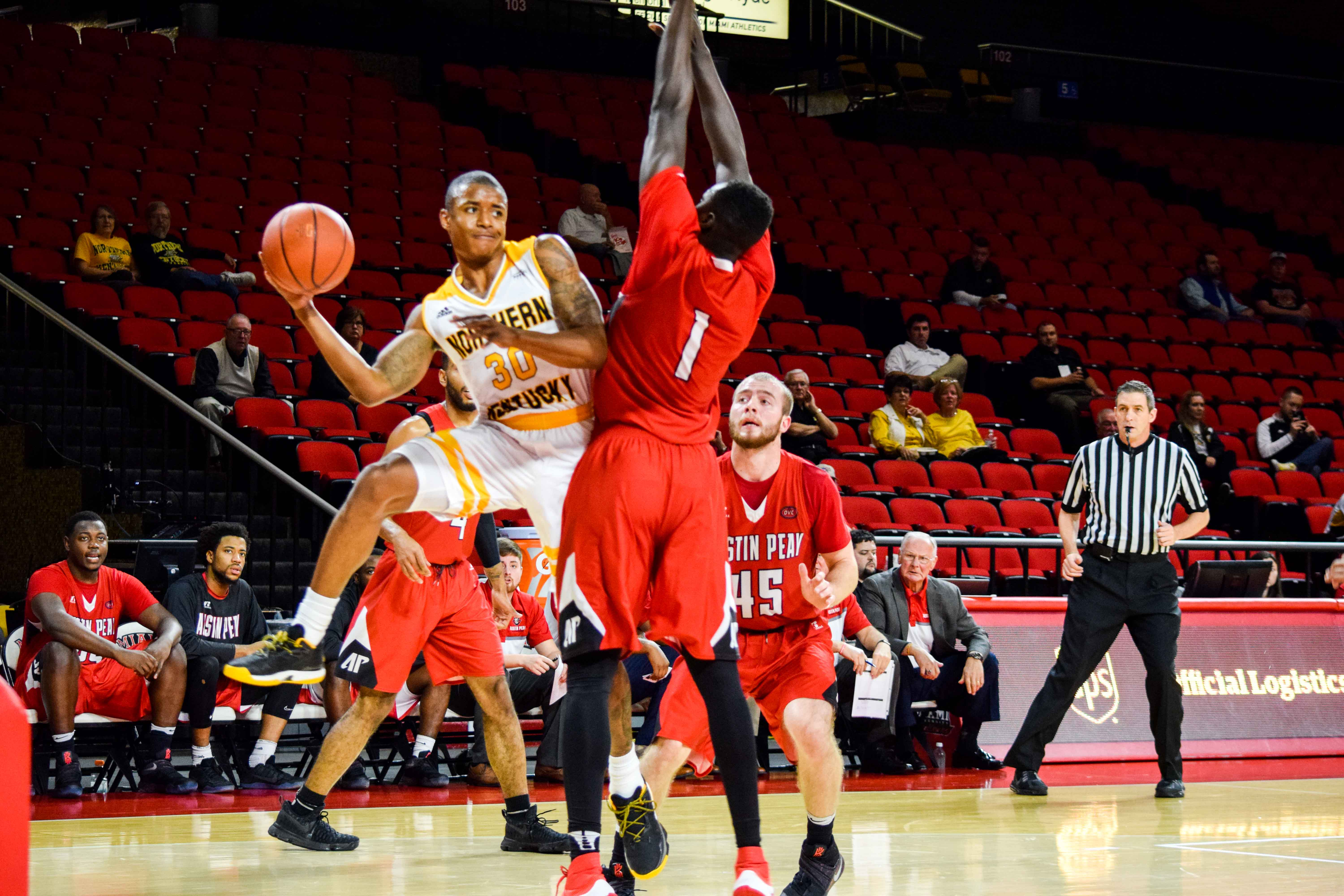 NKU's Lavone Holland II (30) throws a pass during Friday's game against Austin Peay at Miami University.
